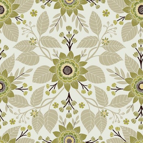 Pale Green, Cream, Tan & Brown Floral Pattern
