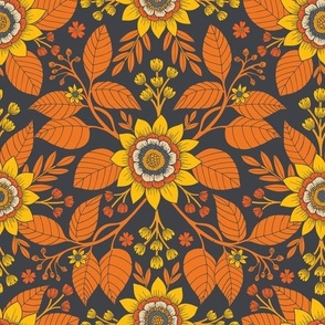 Yellow, Orange, Cream & Steel Blue Floral Pattern