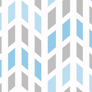 Blue Gray Grey Mosaic Chevron