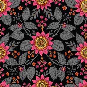 Hot Pink, Yellow, Orange, Gray & Black Floral Pattern