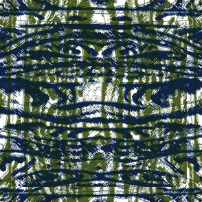 Flowing Totem #3 Navy & Olive on White