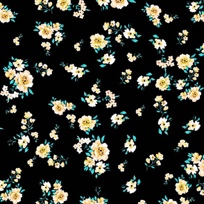 Yellow Ditsy Floral Pattern