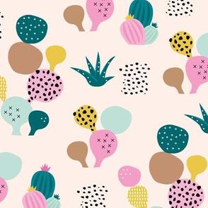 Colorful cacti garden tropical beach lovers surf print summer garden teal pink girls