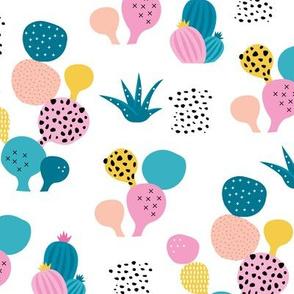 Colorful cacti garden tropical beach lovers surf print summer garden pink blue girls