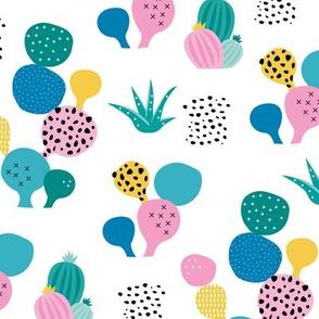 Colorful cacti garden tropical beach lovers surf print summer garden blue green girls
