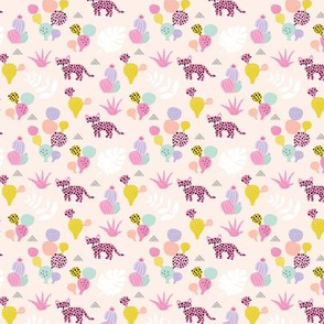 Colorful kawaii jungle leaves leopard wild animals and cactus garden baby girls pink lilac SMALL