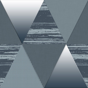 Slate Blue Grey White Triangles
