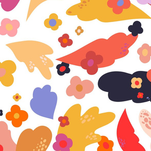 Jumbo Abstract Flowers and Leaves (Autumn)