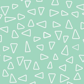 White open triangles with mint background