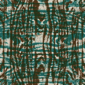 Flowing Totem #3 Teal & Brown on Taupe