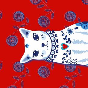 Cat Portrait Tea Towel