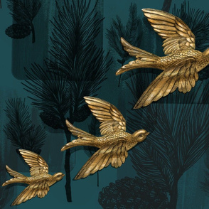 Pine Cones with Brass Birds
