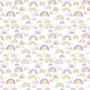 Rainbow love Scandinavian abstract rainbow clouds happy kawaii rain sky girls pink yellow mint SMALL