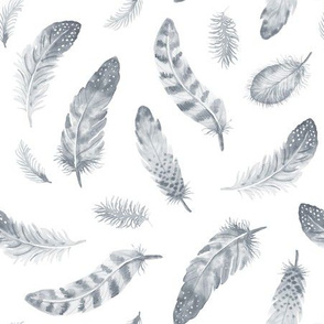 Watercolor Feathers monochrome