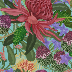 Large Scale Painted Oceanic Florals blue background