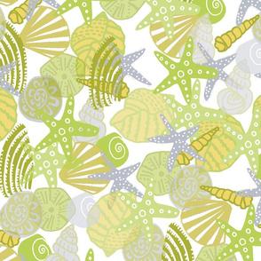 green painterly shells