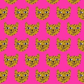 Small - cheetah mustard on bright pink