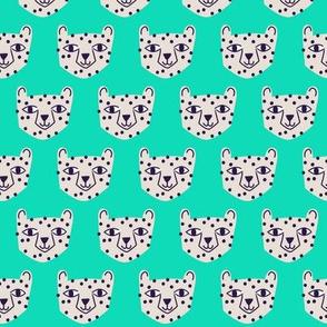 Small - cheetah white on green