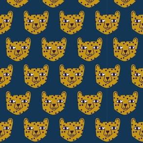 Small - cheetah mustard on blue