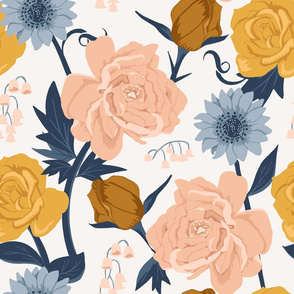 Blush + Gold Painted Florals Large