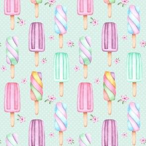 Creamsicles – polka dots + flowers (soft mint)