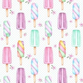 Creamsicles – polka dots + flowers