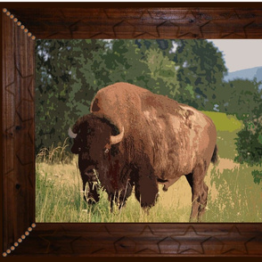 Framed Buffalo paint by numbers