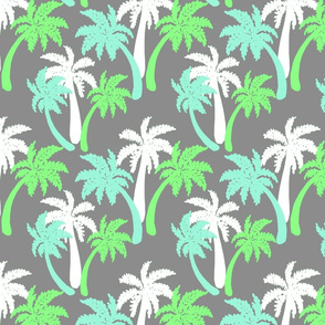 green palms on gray