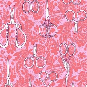 embroidery scissors - pink + coral