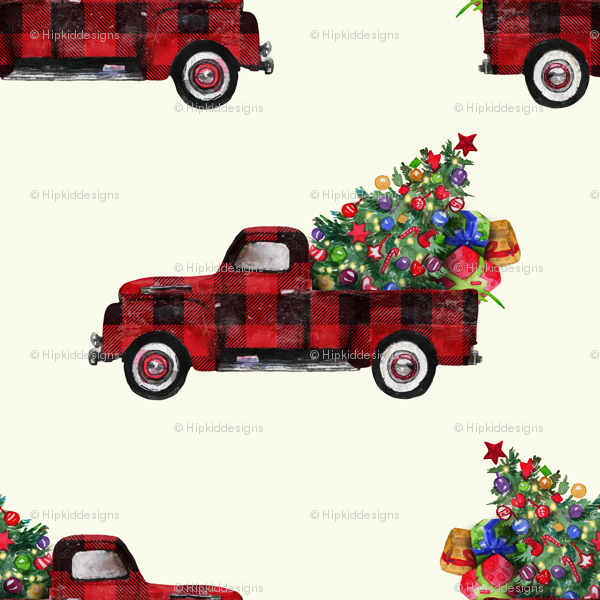 Vintage Red Truck Christmas Placemats.6 Vintage Woodland Red Truck And Christmas Tree Bianca