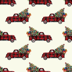 rvintage woodland red truck and christmas tree bianca cream shop thumb