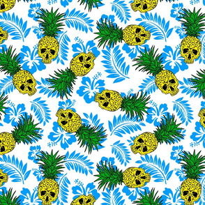 pineapple skulls white with blue