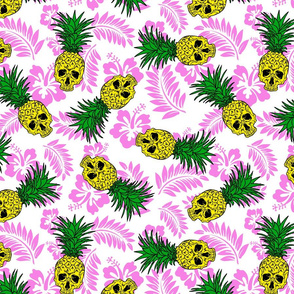 pineapple skulls white with pink