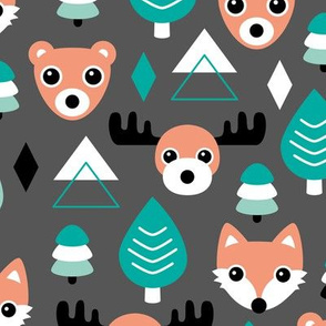 Geometric fox grizzly bear moose and wolf pine tree illustration winter woodland pattern black green copper