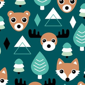 Geometric fox grizzly bear moose and wolf pine tree illustration winter woodland pattern black teal green copper