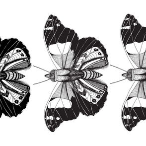 Butterfly Tea Towel Black & White