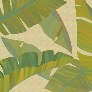 Large Banana Leaves beige texture