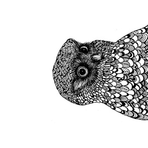 Owl tea towel black & white