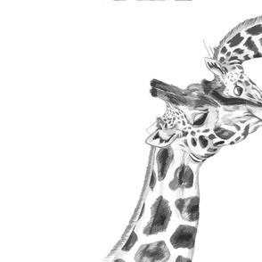 Giraffe teatowel black & white