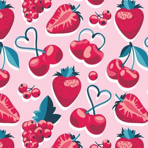 Cherries, berries and strawberries // small scale // pink background red fruits