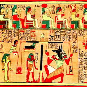 book of the dead  Anubis God ancient egypt egyptian goddess death Osiris hieroglyphics weighing heart judgement feather scales judges Thoth Ibis Maat couple man woman Sekhmet  lioness Ammit demoness lion, hippopotamus crocodile Ba bird harpy harpies jacka