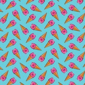 "(3/4"" scale) pig icecream cones toss on blue C19BS"