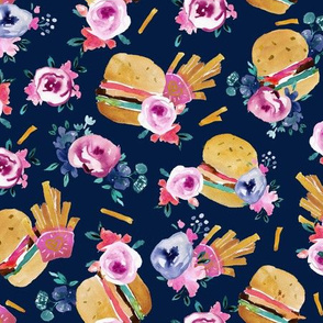 burgers and flowers - navy
