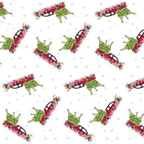 Red Truck Christmas Snow Around - SMALL 343
