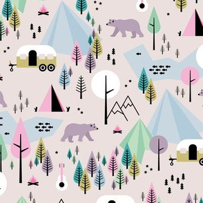 Summer camping grizzly bear in the woods and caravan happy camper mountains wilderness girls pastels