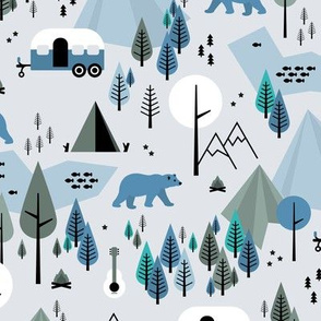 Summer camping grizzly bear in the woods and caravan happy camper mountains wilderness winter blue boys