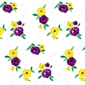Pansy Patch purple yellow on white-ch