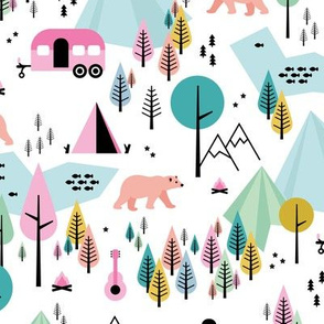 Summer camping grizzly bear in the woods and caravan happy camper mountains wilderness white pink blue