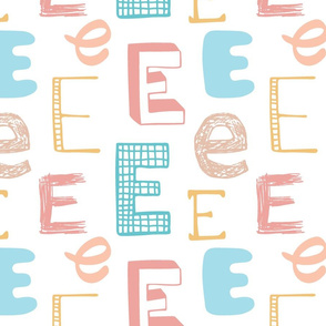 Letter E Mixed Pastels