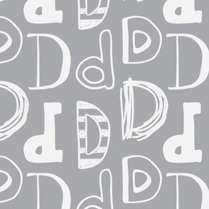 Letter D Grey and Light Grey